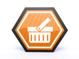shopping cart hexagon icon on white background