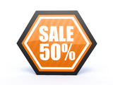 sale hexagon icon on white background