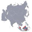 Asienkarte mit Malaysia