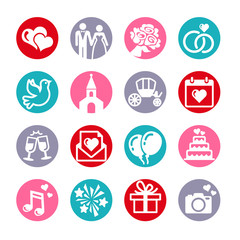 16 web icons set. Wedding, bride and groom, love, celebration.