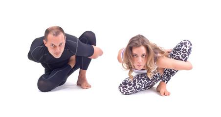 Yoga exercises in group /  Ray of Light Pose - Marichyasana
