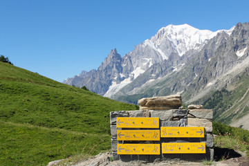 Mountain trail indications and Mont Blanc