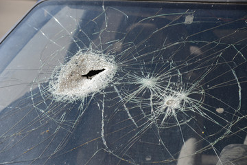The broken glass.