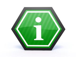 information hexagon icon on white background