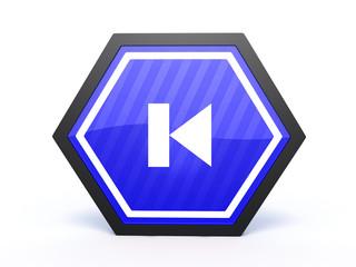 prev hexagon icon on white background
