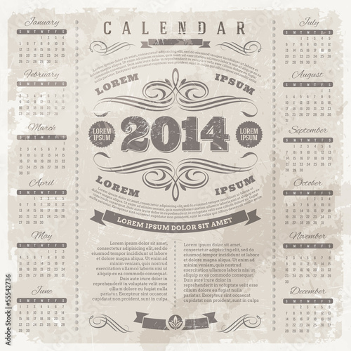 Ornate vintage calendar of 2014 on a grunge background