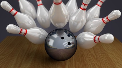 Bowling Ball and Pins on Moment of Strike Impact