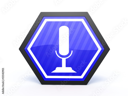 microphone hexagon icon on white background