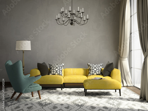 Romantic elegant living room with armchair