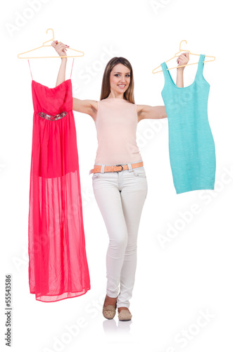 Woman trying new clothing on white