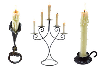 Three candlesticks isolated