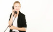 hübsche Frau telefoniert