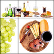 Set of different alcoholic drinks and food