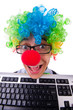 Funny guy with clown wig on white