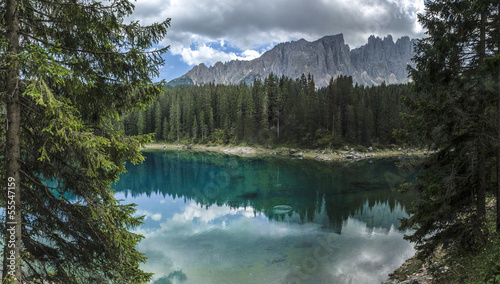 Carezza lake and Latemar, Dolomites