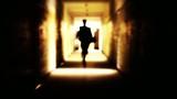 Man Suit Running Toward Shining Light Salvation Freedom Concept poster