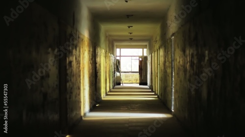 light at the end of the tunnel concept abandoned building HD