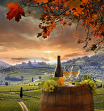 White wine with barell  in vineyard, Chianti, Tuscany, Italy - 55549748