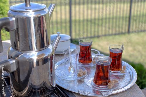 Contemporary Turkish Tea Served