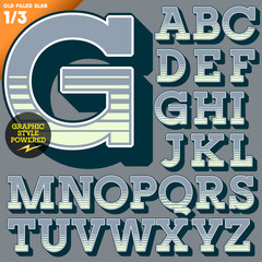 Old fashioned alphabet. Vintage style. Deco filled