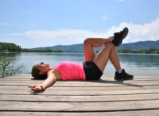 girl stretching the muscles