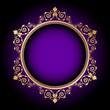 Vector gold floral frame on purple background