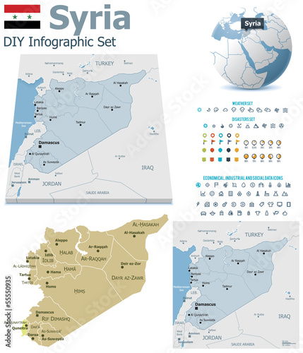 Syria maps with markers