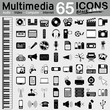 Multimedia, 65 Icons, Audio, Video, Computer, Internet, 2D