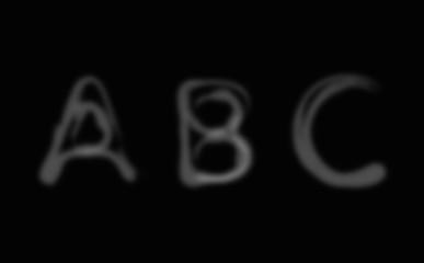 Smoke alphabet font. Letters A-C