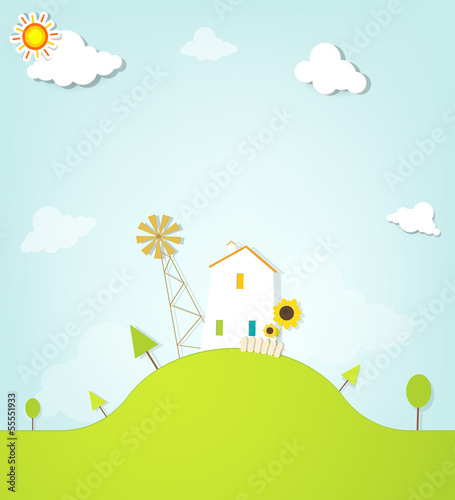 landscape with house on hill