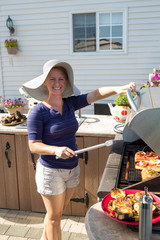 Lady by Outside Kitchen BBQ