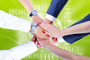 Teamwork,holding hands,handshake,business background
