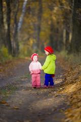 Two little sisters in oak grove