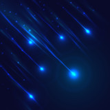 Shining blue vector meteorites