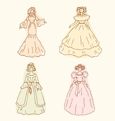 Retro isolated women sketches