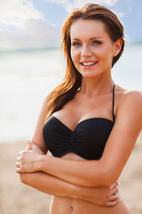 woman wearing bikini closeup portrait