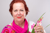 Red Hair Senior with Gladiolus Flower
