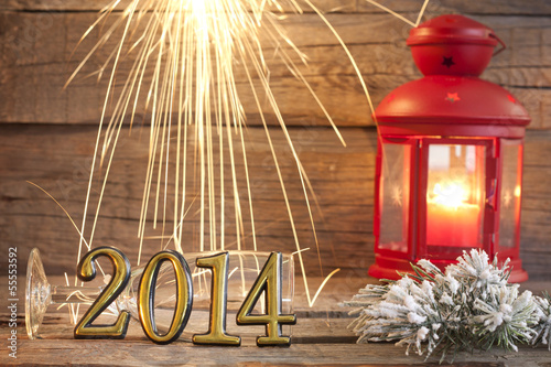 2014 happy new year abstract background sign with sparklers