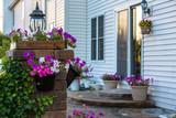 Brick Patio and Pillar with Flowers