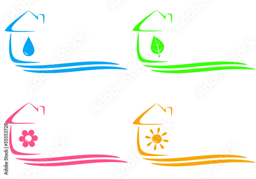 icons of eco house, heating and water drop and place for text