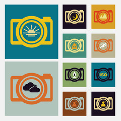 Camera scene icons set vintage color