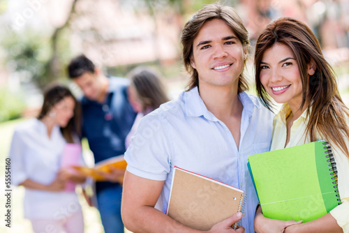 Happy couple of students