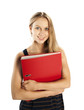 Junge Frau mit rotem Aktenordner
