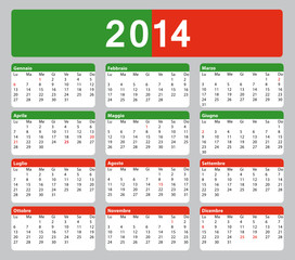 2014 calendario italiano. Verde bianco rosso.
