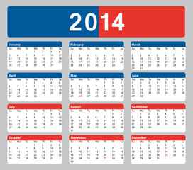 2014 american calendar with public holidays. Business office.