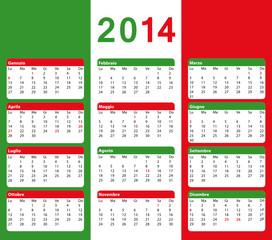 2014 Calendario italiano con giorni festivi. Bandiera.