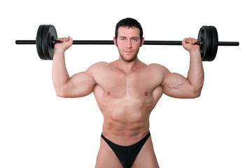 Bodybuilder with barbell isolated.