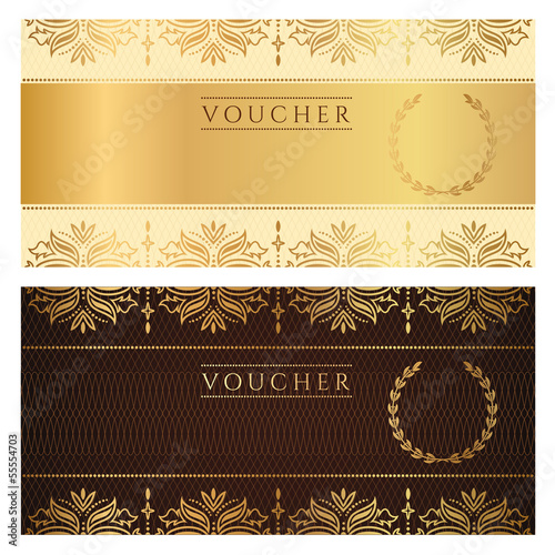 Gift certificate / Voucher / Coupon / Ticket. Floral pattern