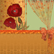 Floral card red poppies on green background
