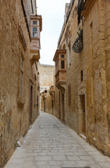 Maltese narrow street Mdina, Malta
